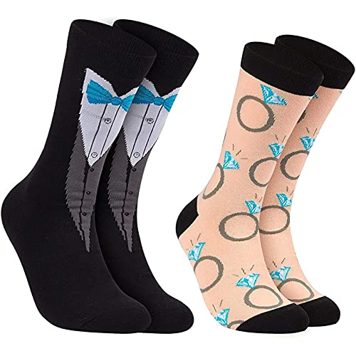 Groom and Bride Crew Socks for Wedding, Tuxedo and Ring (2 Pack)