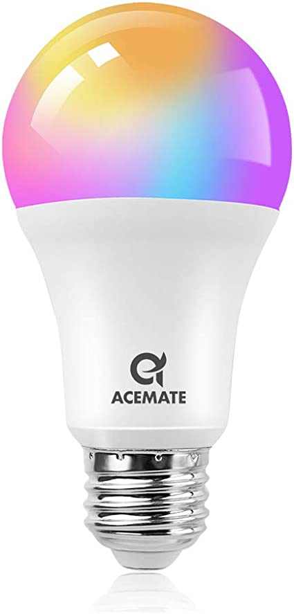 TALLA 1P. ACEMATE Bombilla inteligente LED WiFi Regulable Multicolor Lámpara(no se requiere hub),E26(E27),7W=75W,Luz Cálida/Frías & RGB,A19/A60,compatible con Alexa,Siri,Echo,Google Home o IFTTT Control(1 PCS)
