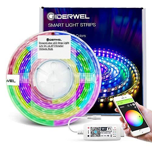 GIDERWEL Smart WiFi DreamColor RGB LED Streifen 5m Kit mit WiFi LED Controller Arbeiten Sie mit Alexa/Google Assistant für APP/Voice Music Sync Steuern Adressierbare LED Strip Farbwechsel und Dimmbar