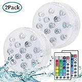Unterwasser Licht, Kolpop LED Teichbeleuchtung mit Fernbedienung, Batteriebetriebenes 16 RGB Farbwechsel IP68 Wasserdichtes Licht für Schwimmbad/Teich/Badezimmer/Spa & Whirlpool
