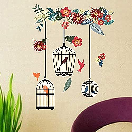 Colorful Bird Cage Wall Stickers for Living Room Bedroom Home Decoration Large PVC Murals