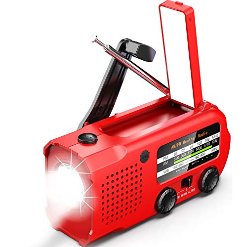 【2021 5000mAh Upgraded】iRonsnow Weather AUTO Alert Emergency Radio, 5000mAh Solar Hand Crank Portable NOAA/AM/FM Radio with SOS Alarm Flashlight Earphone Jack, 14 Lamps Reading Light Cellphone Charger