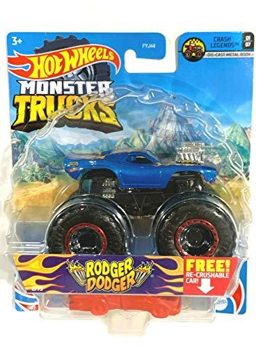 DieCast Hotwheels Monster Trucks Rodger Dodger 2/75 (Blue) with re-Crushable car, Crash Legends 01/07