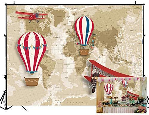 NIVIUS PHOTO Fondo para fotografía con mapa del mundo y globo aerostático, tema de viajero, primer cumpleaños, decoración para baby shower, cabina de fotos de 220 x 150 cm, W-2076