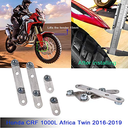 LoraBaber CRF1000L Guardabarros delantero de acero inoxidable Guardabarros Riser Rising levanta el guardabarros 15 mm / 0.59 pulgadas Para H-o-n-d-a CRF 1000L Africa Twin 2016 2017 2018 2019