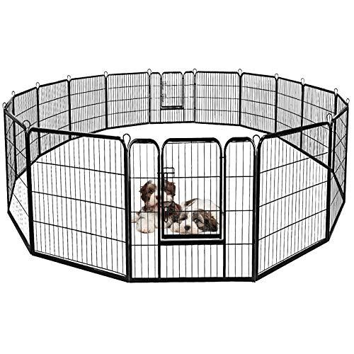 DREAMADE Recinto in Metallo per Animali Domestici, Pieghevole, Box per Cani, Ideale per Interno ed Esterno, Recinzione in Metallo per Cani, 8 Pannelli, Nero