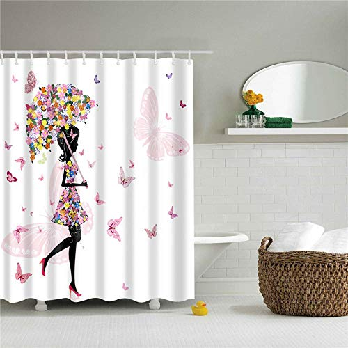 wangxiuliu Shower Curtains,Girl with umbrella Shower Curtain Cute Bright Colorful Design Waterproof Fabric Bathroom Shower Curtain Set with 12 Hooks-180x200cm