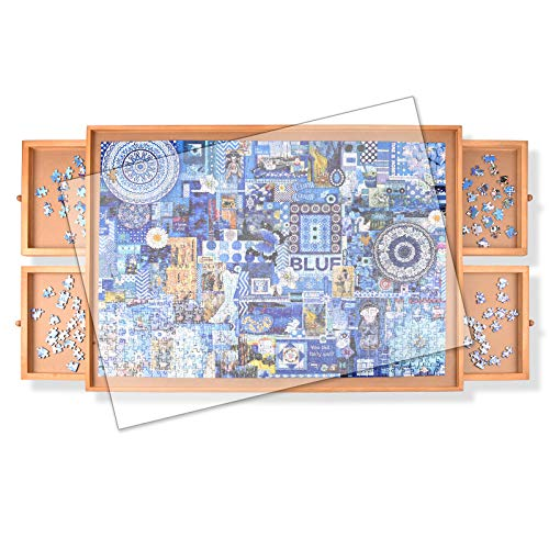 Rekcopu 1000 Pcs Puzzle Board,Jigsaw Puzzle Table with Drawers for Puzzle Storage,Portable Puzzle Table for Adults Teens