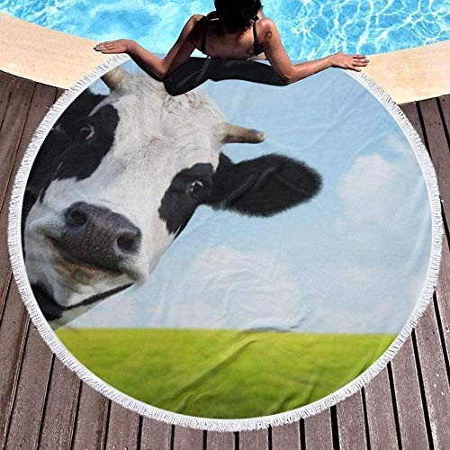 Aspiradora de Mano Runde Strandtuch Kühe Im Grasland Outdoor Travel Swim Mikrofaser Dicker Kreis Decke Yoga Picknickmatte Tapisserie Tischdecke Mit Quaste Fransenmatte Weich