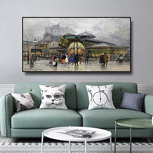 ganlanshu Pintura al óleo sobre Lienzo estación de Metro de París Cartel de Arte de París decoración Moderna de la Pared del hogar,Pintura sin Marco,50x100cm