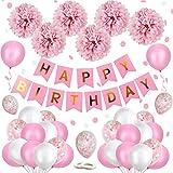 Flow.month Geburtstagsdeko, Geburtstag Dekoration Mädchen Rosa Happy Birthday Girlande mit Pompoms und Luftballons Rosa Konfetti Luftballons für Geburtstag Partydeko Mädchen und Frauen(Rosa)