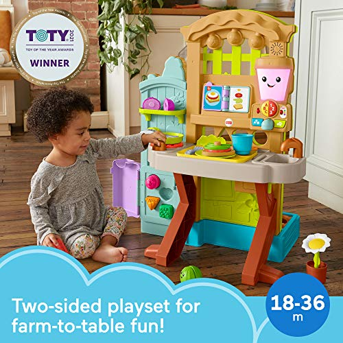 Fisher-Price Laugh & Learn Grow-the-Fun Garden to Kitchen, Interactive Farm-to-Kitchen Playset for Toddlers with Music, Lights and Learning Content