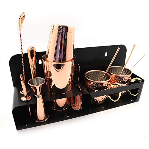 Juego de coctelera,SKY FISH 14 piezas Barman Kit incluyendo soporte de acero inoxidable y 2 tazas de cobre Moscow Mule, regalo para los amantes del cóctel.