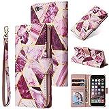 Shinyzone Coque pour iPhone 6S Portefeuille avec Porte Cartes,Coque iPhone 6 avec Dragonne,Marbre PU...