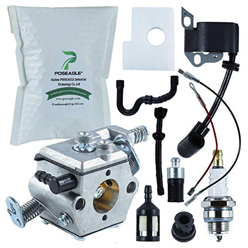 POSEAGLE MS180 Carburetor with Ignition Coil Tune-Up Kits for Stihl 017 018 MS180 MS170 Chainsaw Replaces Stihl 1130 120 0603 1130-120-0603 ZAMA C1Q-S57 C1Q-S57A C1Q-S57B