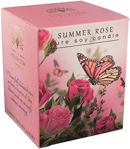 The English Soap Company, Summer Rose Soy Wax Candle, 170mls