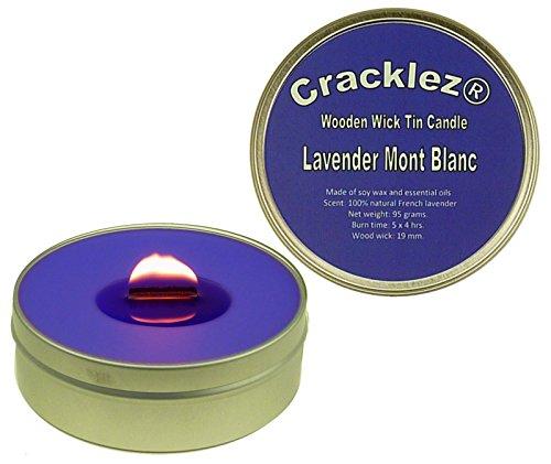 Cracklez Knister Holzdocht Duftkerze in Dose Lavendel Mont Blanc. Blau-violett.