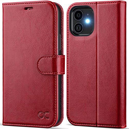 OCASE Hülle iPhone 12 Handyhülle iPhone 12 Pro Hülle [Premium PU Leder] [Kartenfach] [Magnetverschluss] Lederhülle RFID Schutzhülle Klapphülle Hülle Cover Etui Kompatibel für iPhone 12/12Pro Rot