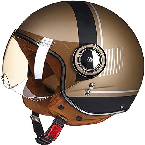 Medio Casco de Motocicleta para Adultos, Aprobado por Dot/ECE 3/4 Cascos de Motocicleta Estilo Retro, Cara Abierta, Chopper, Scooter, Crucero, Casco (Color : C, Size : X-Large)