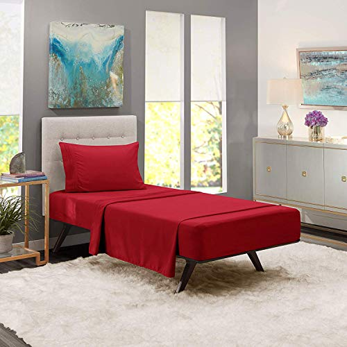 homelux beddings Luxury Egyptian Comfort 1800 Thread Count 3 Piece Twin Size Sheet Set, Burgundy Color