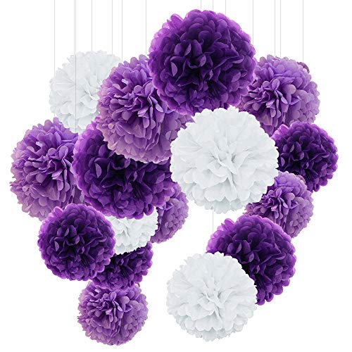 O-Kinee Pom Poms aus Seidenpapier, 24 Stück Seidenpapier Pompons, Blumen Ball Dekorpapier Kit für Geburtstag, Hochzeit, Baby Dusche, Parteien, Partei Dekoration, Helles Lila, Dunkles Violet und Weiß
