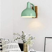Moderne Wandlamp Macaron Kleur Smeedijzer Eiken Houten Wandlamp Blaker met Lampenkap Slaapkamer Woonkamer Bedlampje E27 Wa...