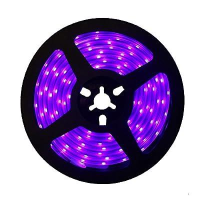 SUNVIE LED UV Black Light Strip, 60 Watts 16.4Ft/5M 2835 SMD 300LEDs Flexible Waterproof IP65 LED Light Strip, DC 24V 3A Power Supply and Free Kit