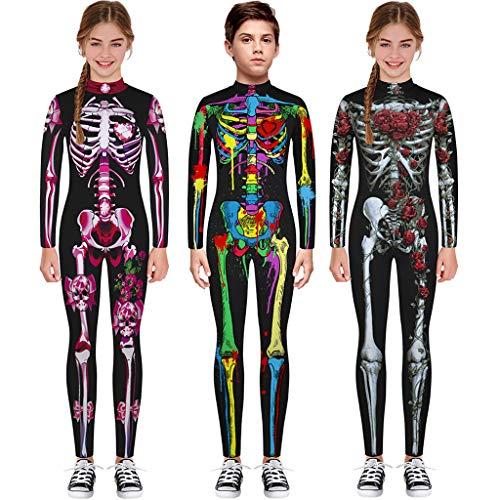 Dasongff Combinaison de squelette pour enfant fille garçon Motif os squelette Costume d'Halloween Costume de carnaval Noir A L
