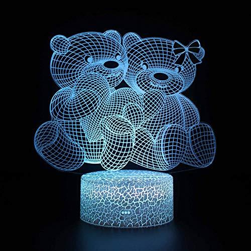 3D llevó la luz de la noche 3D lámpara de ilusión óptica oso 16 colores llevó la lámpara USB táctil remoto habitación del bebé dormitorio luz de la mesa niños regalo de Navidad