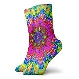 LLeaf Mandala Flower Tie Dye Calcetines de vestir Calcetines divertidos Calcetines locos Calcetines casuales para ni?as y ni?os
