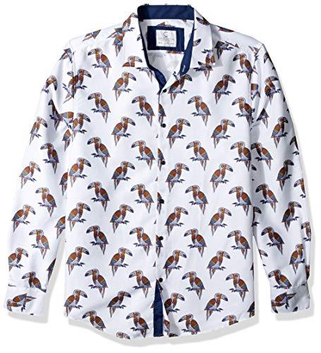 Azaro Uomo – Camisa de Manga Larga para Hombre, Estilo Italiano, Estilo Casual, con Botones, Parrot Print…
