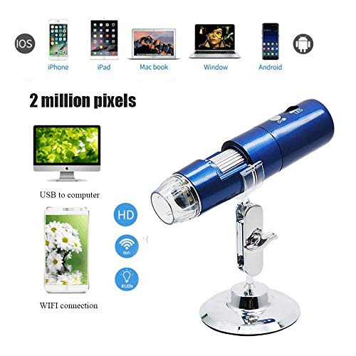 WiFi Microscopio Microscopio Portable 50-1000X Zoom 2 Millones de píxeles de Carga USB con 8 LED Adecuado para niños y Principiantes Soporte teléfono Inteligente Android Tableta de iPhone