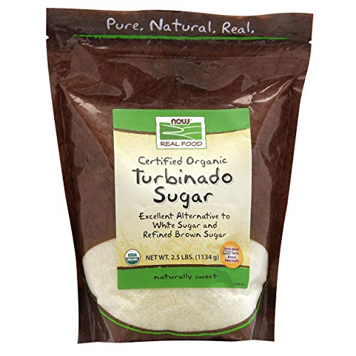 NOW Natural Foods, Certified Organic Turbinado Sugar, Alternative to White and Refined Brown Sugar, Certified Non-GMO, 2.5-Pound (Packaging May Vary)
