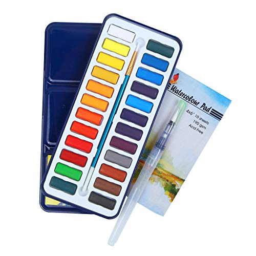 Watercolor Paint Set by Falling in Art, 24 Watercolor Cakes Pan with 2 Water Brushes and 10 Sheets Paper Pad