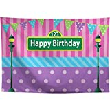 Allenjoy Happy Birthday Backdrop for Girls First 1st Bday Party Pink Blue Stripes Cake Table Decoration Banner Purple Polka Dots Colorful Flags Street Festa Carnival 8x6ft Photo Shoot Booth Background