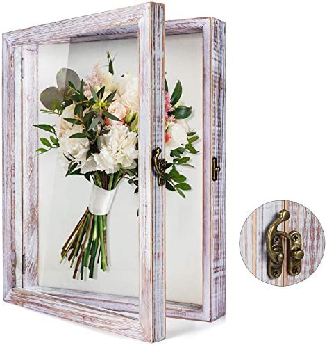TJ MOREE Flowers Shadow Box Display Case 11 x 14 Large Shadow Box Frame with Glass Window Door product image