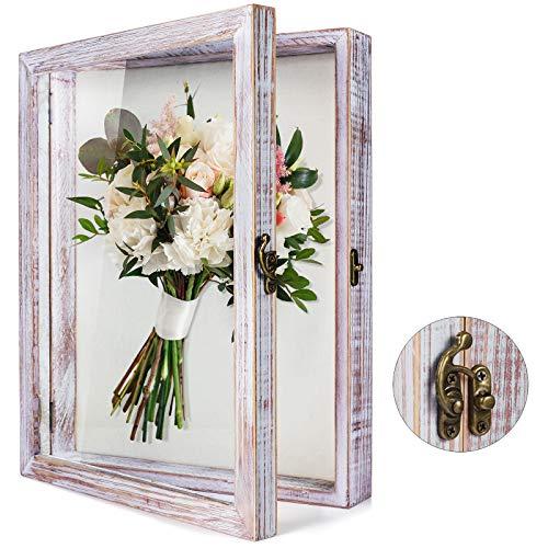 TJ.MOREE Schatulle mit Blumen, 27,9 x 35,6 cm, großer Schattenkasten mit Glasfenster, Tür, tiefer Bilderrahmen, Hochzeitsstrauß, Erinnerungsstücke, Medaillen, Fotos, Erinnerungsstücke – Weiß