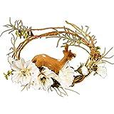 Beautiful crown Guirnalda artificial, coronas de la puerta delantera, forestal diadema de corona nupcial tiara de dibujos animados ciervo guirnalda flor boda guirlandfor casa fiesta interior ventana p