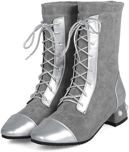HYLFF HYLFF HYLFF femmes Haut Talon Bottines Bottes Lacets Zip Les Les dames Biker Hiver Chaussons Chaussures Martin Bottes,argent,42EU 42a