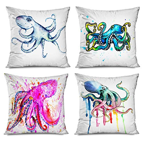 Onete Set of 4 Octopus Decorative Throw Pillow Cover Watercolor Tattoo Sketch Octopus Pillowcase 18 X 18 Inches