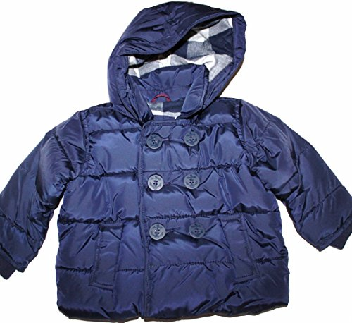 Baby Gap Infant Girl Boy 6 12 Mo. Flannel Lined Navy Blue Hooded Puffer Pea Coat (6-12 Mo.)