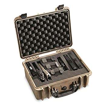 HQ ISSUE Handgun Case with Foam Carrying Hard Gun Case for Pistol and Ammo  Flat Dark Earth