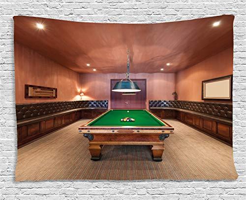 ABAKUHAUS Modern Wandteppich, Billardtisch Billard, Wohnzimmer Schlafzimmer Heim Seidiges Satin Wandteppich, 200 x 150 cm, Zimt Braun Grün
