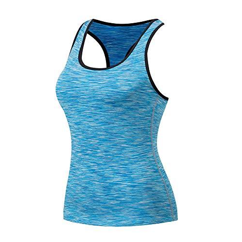 SUNNYCOOL Damen Fitness Yoga Laufen Fitness Tank Top Sporttop mit Ringerrücken Oberteil Shirt