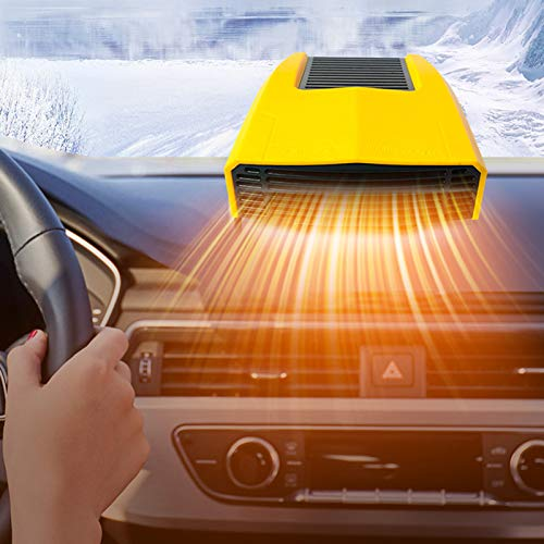 uyhghjhb Auto Heizung 12V / 180W Tragbare Defroster Defogger Heizung Tragbare Auto Heizung Lüfter Plug In Feuerzeug Winter Gelb
