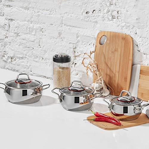 KARACA Emirgan - Batería de cocina de 6 piezas, acero inoxidable, apta para inducción, 3 ollas con tapa de cristal