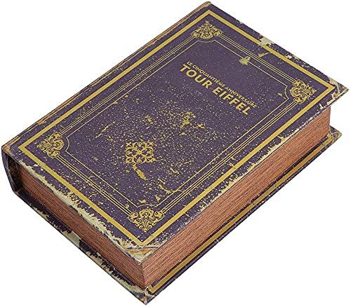 Caja Decorativa de Libros Falsos, Caja de joyería con Forma de Libro Vintage, Caja de Libros Huecos Falsos para esconder Dinero, joyería, Caja de Almacenamiento de Objetos de Valor-A||M