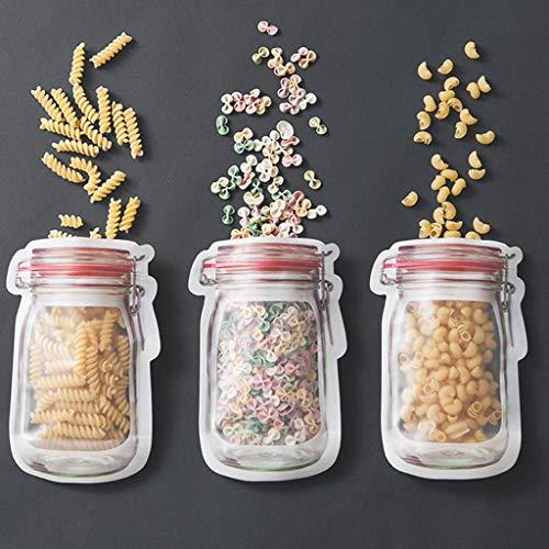 Yukuai 10 Stück wiederverwendbare Mason Bottle Ziplock Beutel Lebensmittel-Aufbewahrungstasche Frischhaltebehälter Früchtebeutel für Küche, Wandern, Radfahren, Camping