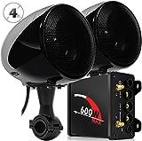 XINGFUQY Sistema de Audio Aileap M600N Motocicleta con 600W Subwoofer Amplificador y Dos Altavoces estéreo, Soporte for Bluetooth, Radio FM, AUX MP3 (Color : Black Set)