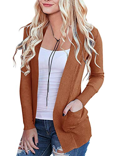 MEROKEETY Women's Open Front Casual Knit Cardigan Classic Long Sleeve Sweater Coat, M Caramel
